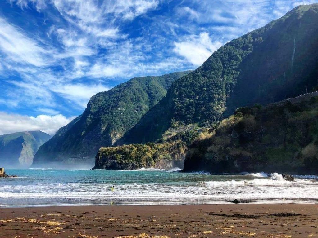 Best beaches in Madeira: Seixal Beach. Natural, black sand beach in Madeira