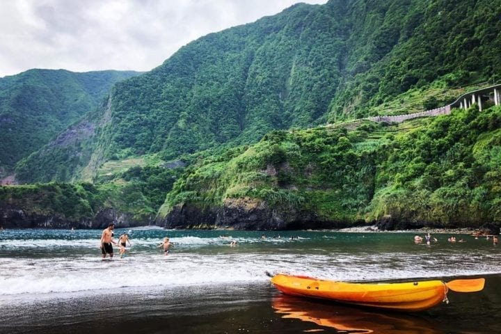Best beaches in Madeira: Seixal Beach. Natural, black sand beach in Madeira