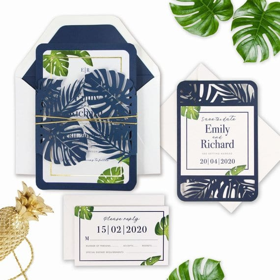 Tropical wedding invitations - Urgan Jungle style ~ Zaproszenia ślubne w stylu tropikalnym/botanicznym #wedding #weddinginvitations #weddinginspiration #invitations #design #tropicalwedding #greenwedding #urbanjungle