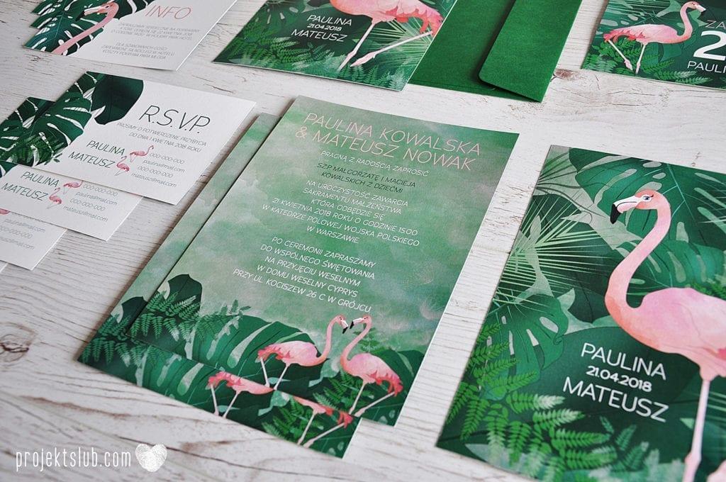 Tropical wedding invitations ~ Zaproszenia ślubne w stylu tropikalnym/botanicznym #wedding #weddinginvitation #weddinginspiration #invitation #design #tropical #flamingo