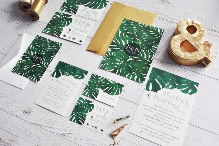 Tropical wedding invitations ~ Zaproszenia ślubne w stylu tropikalnym/botanicznym #wedding #weddinginvitation #weddinginspiration #invitation #design #tropical