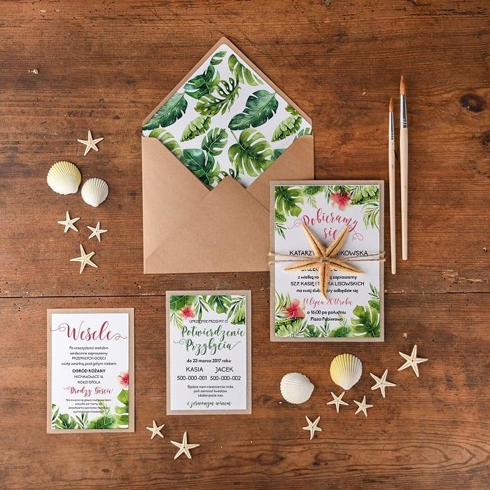 Tropical wedding invitations ~ Zaproszenia ślubne w stylu tropikalnym/botanicznym #wedding #weddinginvitations #weddinginspiration #invitations #design #tropicalwedding #greenwedding