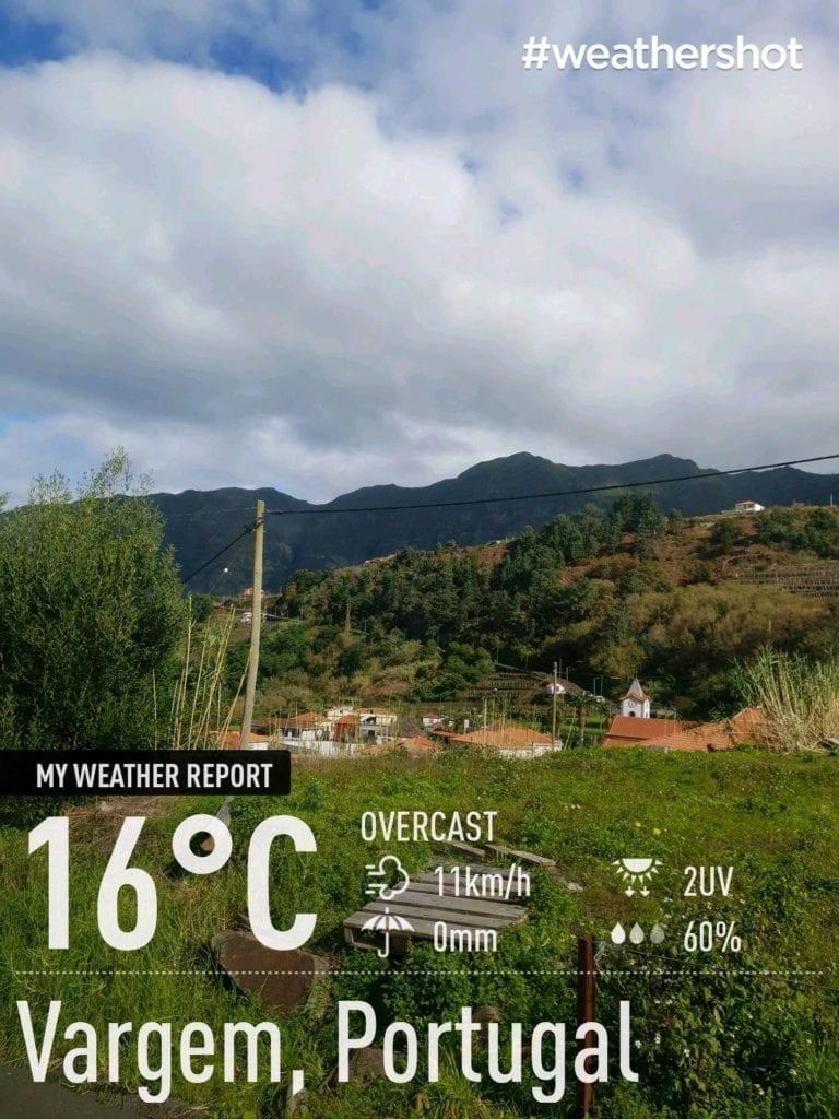 Weather in Vargem, Madeira Island, in December || Pogoda w Vargem na Maderze w grudniu. Północne wybrzeże Madery - pogoda w grudniu