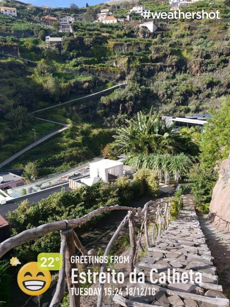 Pogoda w grudniu w Calheta na Maderze - widok z tarasu hotelui Savoy Saccharum