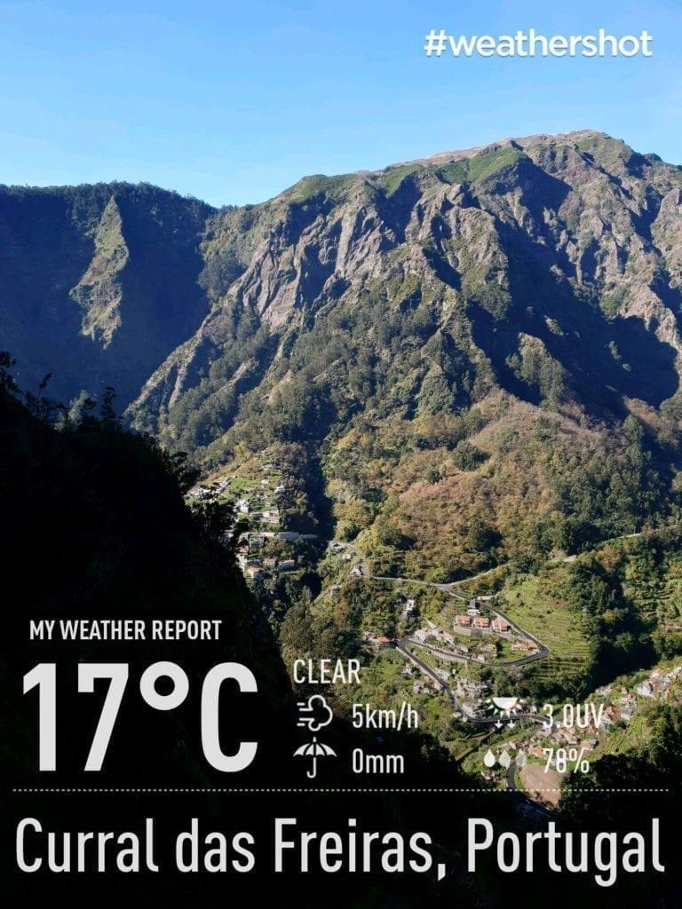 Weather in Eira do Serrado, Nun's Valley, Madeira Island, Portugal in December    Pogoda i temperatura w Eira do Serrado, Dolinie Zakonnic (Curral das Freiras) na Maderze w grudniu - raport pogodowy aka. gdzie uciec od zimy w Europie