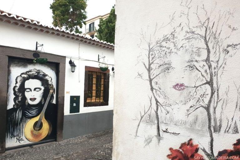 """Stare Miasto w Funchal (Zona Velha) - sztuka uliczna, murale i kolorowe drzwi Funchal. Projekt """"Sztuka Otwartych Drzwi"""". Amalia Rodrigues - Królowa Fado"""