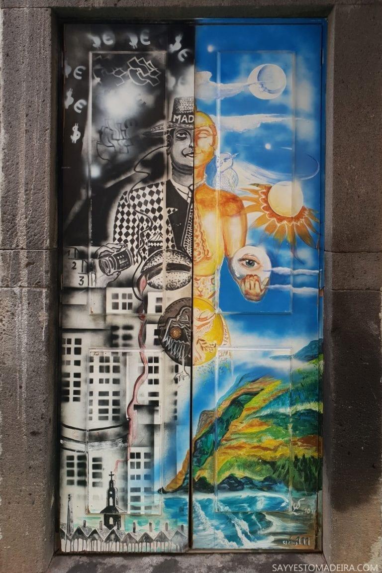 """Co zobaczyć w Funchal: Stare Miasto - sztuka uliczna, murale i kolorowe drzwi Funchal. Projekt """"Sztuka Otwartych Drzwi"""". Najpiekniejsze murale."""