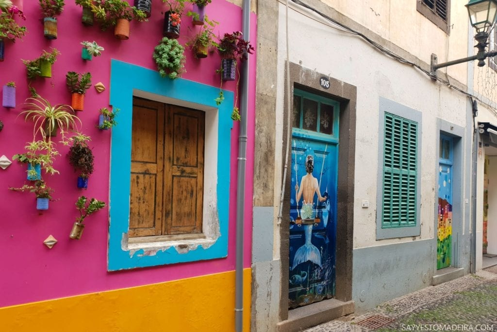 "Funchal Gems: Painted doors on Rua de Santa Maria. Old Town street art project ""Art of the Open Doors"": Blue Mermaid with a Dolphin || Kolorowe drzwi Funchal – Sztuka Otwartych Drzwi na ulicy Rua de Santa Maria. Sztuka uliczna na Starym Mieście w Funchal: Niebieska Syrenka z Delfinem #madeira #portugal #streetart"