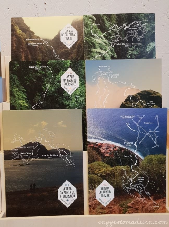 Postcards with levada and hiking routes, Madeira Island
