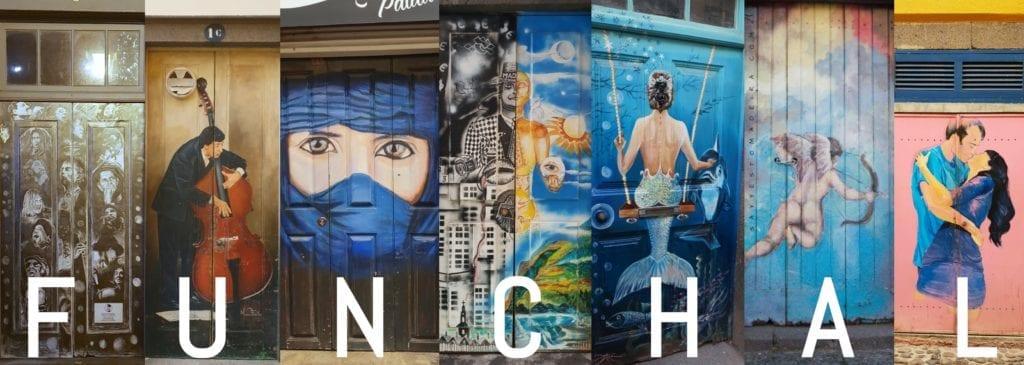 Atrakcje Funchal - sztuka uliczna i kolorowe drzwi na Starym Miescie w Funchal na Maderze