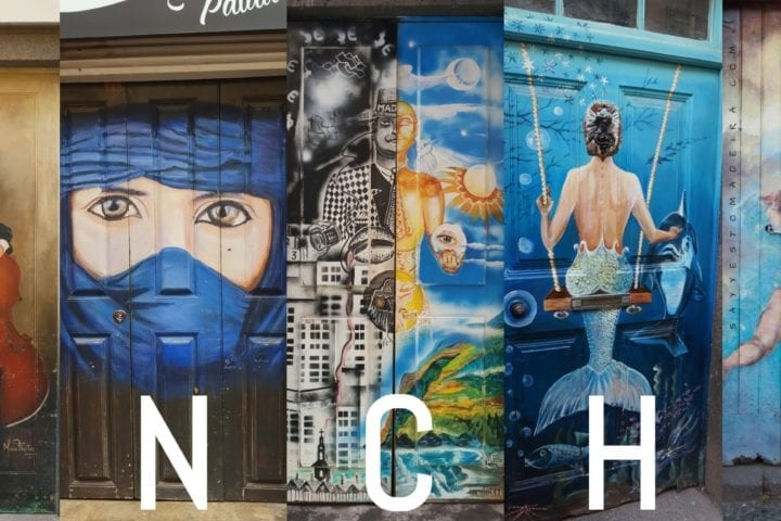 "Funchal Gems: Painted doors on Rua de Santa Maria. Old Town street art project ""Art of the Open Doors"": Kolorowe drzwi Funchal – Sztuka Otwartych Drzwi na ulicy Rua de Santa Maria. Sztuka uliczna na Starym Mieście w Funchal: #madeira #portugal #streetart"