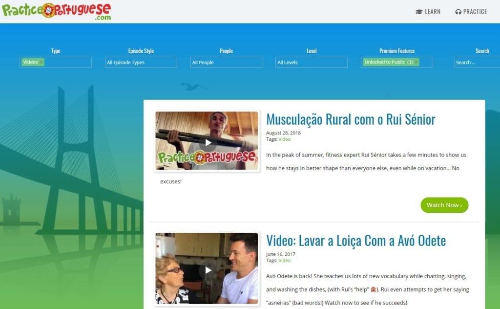 Practice Portuguese - online European Portuguese study materials free or paid - lekcje portugalskiego europejskiego online za darmo lub płatne