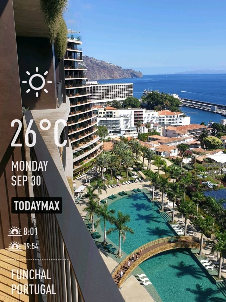 Weather in Funchal in September and October. September weather and water temperatures Madeira. Savoy Palace hotel view
