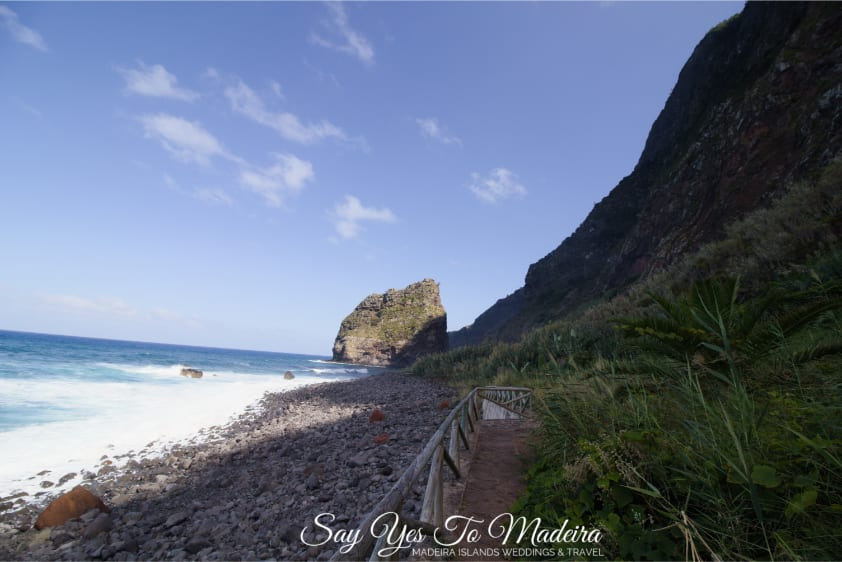 What to see on Madeira Island: Secluded Faja da Rocha do Navio in Santana, Madeira. Attractions in Santana area, Madeira.
