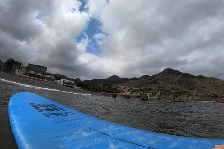 Surfing lessons in Madeira: Surfing for beginners in Machico, Madeira Island, Portugal. Aroundfreedom Surf School review.