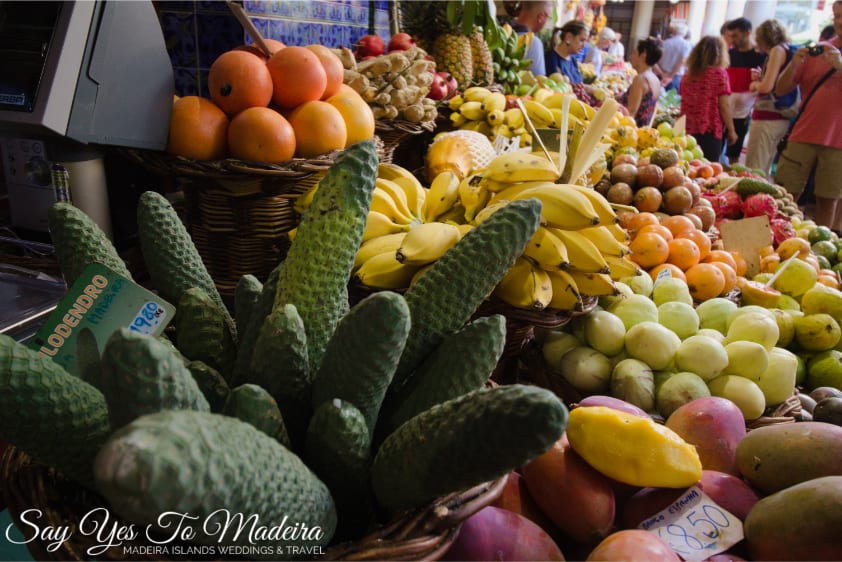 What to see in Funchal: Mercado dos Lavradores - Farmer's Market Funchal. Fruit, vegetable, flower and fish market Madeira Island.
