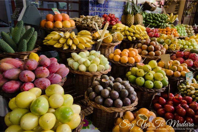 Mercado dos Lavradores - Farmer's Market Funchal. Fruit, vegetable, flower and fish market Madeira Island. Exotic fruit Madeira.