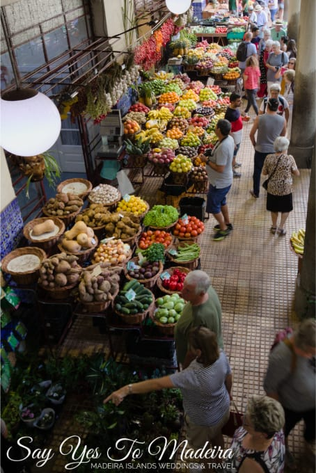 Mercado dos Lavradores - Farmer's Market Funchal. Fruit, vegetable, flower and fish market Madeira Island.