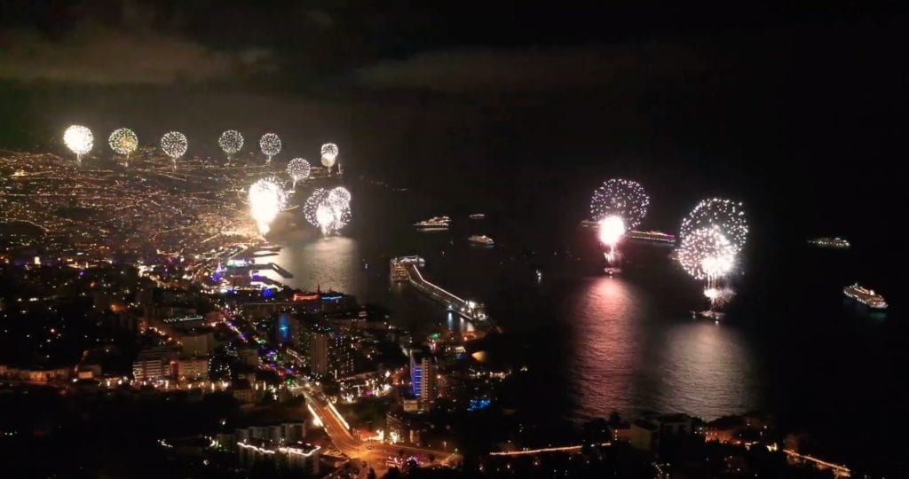 NYE 2020 Great fireworks show from a drone Madeira Island Portugal -. Screenshot by Eagle View @EagleViewPT