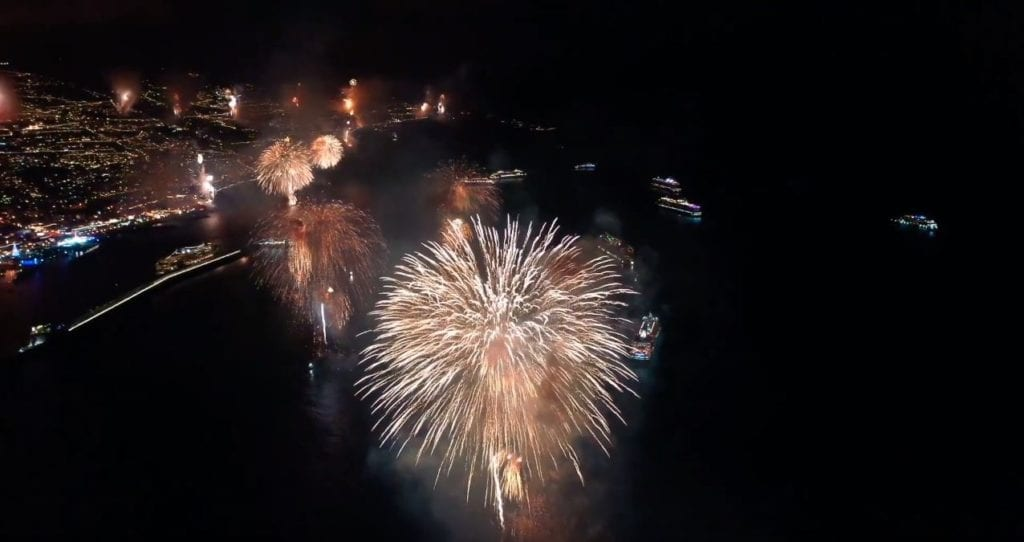 New Years Eve 2020 in Funchal Madeira Island - Fireworks Show. Screenshot by Eagle View : Facebook: EagleViewPT